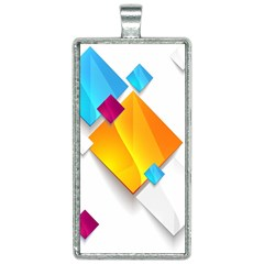 Colorful Abstract Geometric Squares Rectangle Necklace