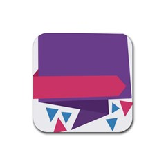 Triangle Fragment Ribbon Title Box Rubber Square Coaster (4 Pack)