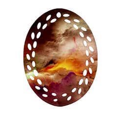 Abstract 3d Graphics Psychedelic Nebula Space Oval Filigree Ornament (two Sides)