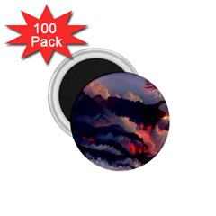 Landscapes Cherry Blossoms Trees Sea Lava Smoke Rocks Artwork Drawings 1 75  Magnets (100 Pack)