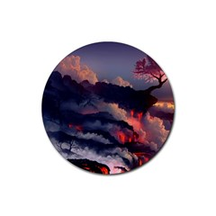 Landscapes Cherry Blossoms Trees Sea Lava Smoke Rocks Artwork Drawings Rubber Round Coaster (4 Pack)  by Bejoart