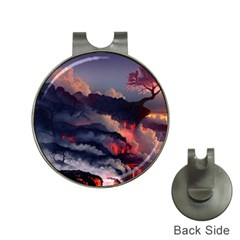 Landscapes Cherry Blossoms Trees Sea Lava Smoke Rocks Artwork Drawings Hat Clips With Golf Markers
