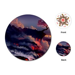Landscapes Cherry Blossoms Trees Sea Lava Smoke Rocks Artwork Drawings Playing Cards (round)