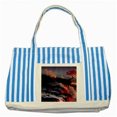 Landscapes Cherry Blossoms Trees Sea Lava Smoke Rocks Artwork Drawings Striped Blue Tote Bag by Bejoart