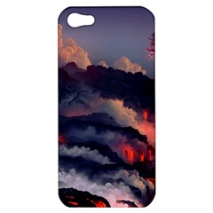 Landscapes Cherry Blossoms Trees Sea Lava Smoke Rocks Artwork Drawings Apple Iphone 5 Hardshell Case by Bejoart
