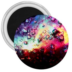 Abstract Colorful Psychedelic Color 3  Magnets
