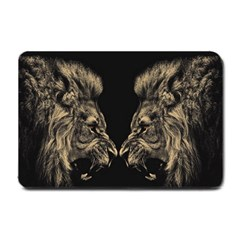 Animals Angry Male Lions Conflict Small Doormat