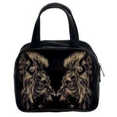 Animals Angry Male Lions Conflict Classic Handbag (two Sides)