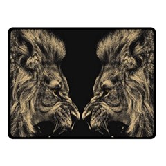 Animals Angry Male Lions Conflict Fleece Blanket (small)