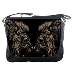 Animals Angry Male Lions Conflict Messenger Bag by Bejoart