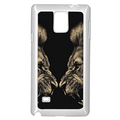Animals Angry Male Lions Conflict Samsung Galaxy Note 4 Case (white) by Bejoart