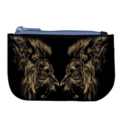 Animals Angry Male Lions Conflict Large Coin Purse