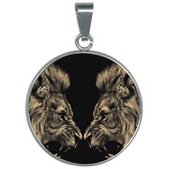 Animals Angry Male Lions Conflict 30mm Round Necklace by Bejoart