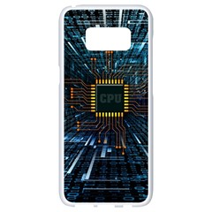 Electronics Machine Technology Circuit Electronic Computer Technics Detail Psychedelic Abstract Patt Samsung Galaxy S8 White Seamless Case by Bejoart
