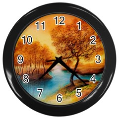 Drawing Landscape River Trees Peace Autumn Wall Clock (black)
