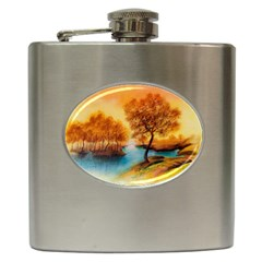 Drawing Landscape River Trees Peace Autumn Hip Flask (6 Oz)