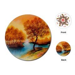 Drawing Landscape River Trees Peace Autumn Playing Cards (round)