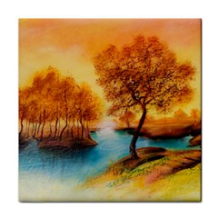 Drawing Landscape River Trees Peace Autumn Face Towel by Bejoart