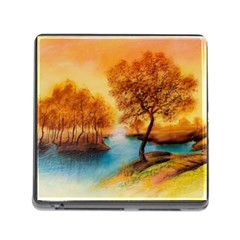 Drawing Landscape River Trees Peace Autumn Memory Card Reader (square 5 Slot) by Bejoart