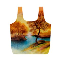 Drawing Landscape River Trees Peace Autumn Full Print Recycle Bag (m)