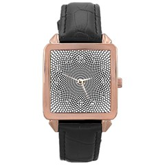 Abstract Animated Ornament Background Rose Gold Leather Watch