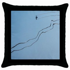 Airplane Airplanes Blue Sky Throw Pillow Case (black)
