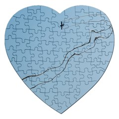Airplane Airplanes Blue Sky Jigsaw Puzzle (heart)