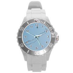 Airplane Airplanes Blue Sky Round Plastic Sport Watch (l) by Mariart