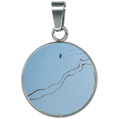 Airplane Airplanes Blue Sky 20mm Round Necklace