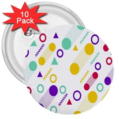 Colorful Geometric Graphic 3  Buttons (10 Pack)  by Jojostore
