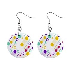 Colorful Geometric Graphic Mini Button Earrings