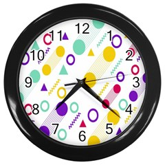 Colorful Geometric Graphic Wall Clock (black)