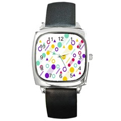 Colorful Geometric Graphic Square Metal Watch