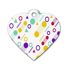 Colorful Geometric Graphic Dog Tag Heart (one Side)