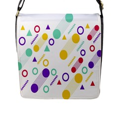 Colorful Geometric Graphic Flap Closure Messenger Bag (l)