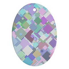 Colorful Background Multicolored Oval Ornament (two Sides)