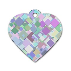 Colorful Background Multicolored Dog Tag Heart (two Sides)