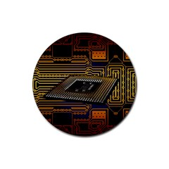Processor Cpu Board Circuits Rubber Round Coaster (4 Pack)  by Bejoart