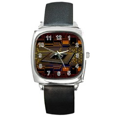 Processor Cpu Board Circuits Square Metal Watch