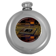 Processor Cpu Board Circuits Round Hip Flask (5 Oz) by Bejoart