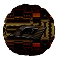 Processor Cpu Board Circuits Large 18  Premium Flano Round Cushions by Bejoart