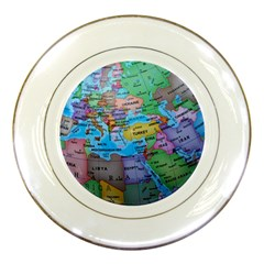 Globe World Map Maps Europe Porcelain Plates