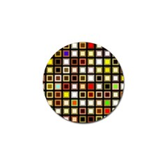 Squares Colorful Texture Modern Art Golf Ball Marker by Bejoart