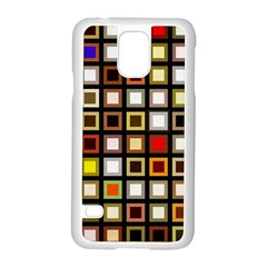 Squares Colorful Texture Modern Art Samsung Galaxy S5 Case (white)