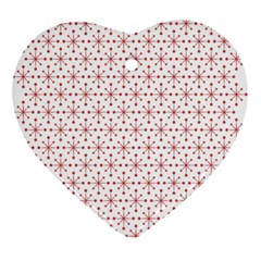 Pattern Christmas Pattern Red Stars Ornament (heart) by Sapixe