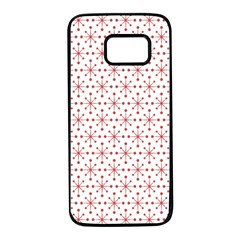 Pattern Christmas Pattern Red Stars Samsung Galaxy S7 Black Seamless Case by Sapixe