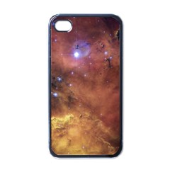 Comic Astronomy Sky With Stars Orange Brown And Yellow Apple Iphone 4 Case (black) by snek