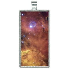 Comic Astronomy Sky With Stars Orange Brown And Yellow Rectangle Necklace by genx