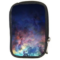 Lagoon Nebula Interstellar Cloud Pastel Pink, Turquoise And Yellow Stars Compact Camera Leather Case by snek