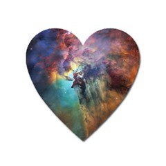 Lagoon Nebula Interstellar Cloud Pastel Pink, Turquoise And Yellow Stars Heart Magnet by genx